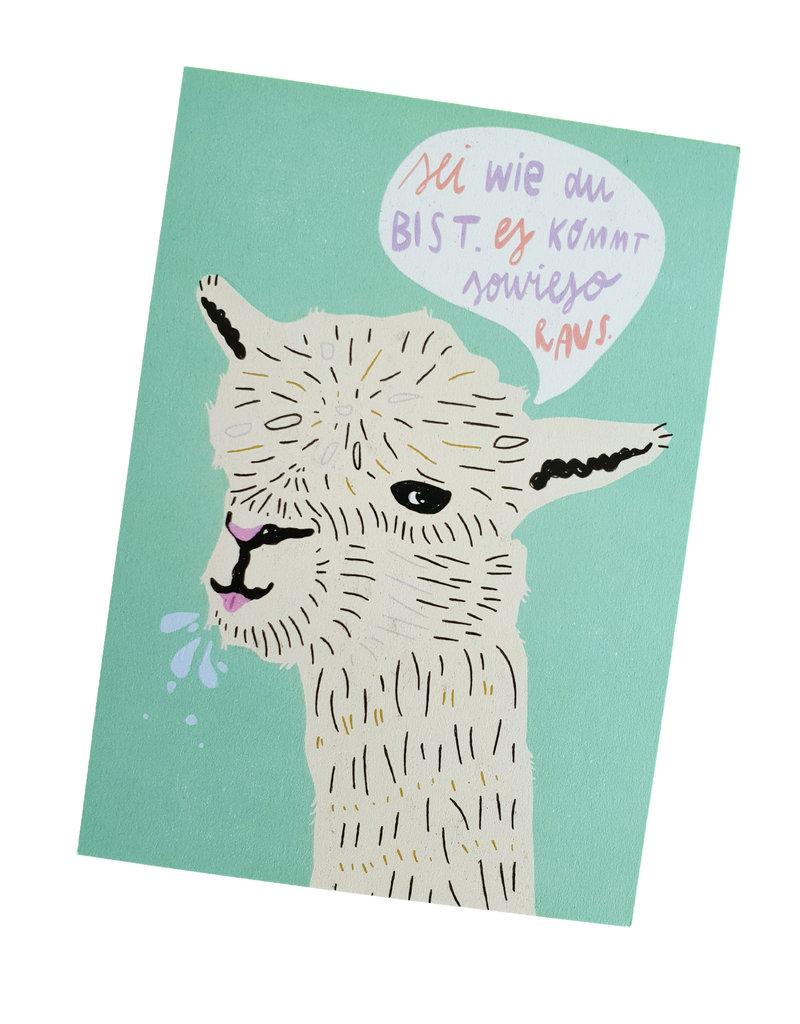Saluti Postkarte »Lama« aus Recyclingpapier