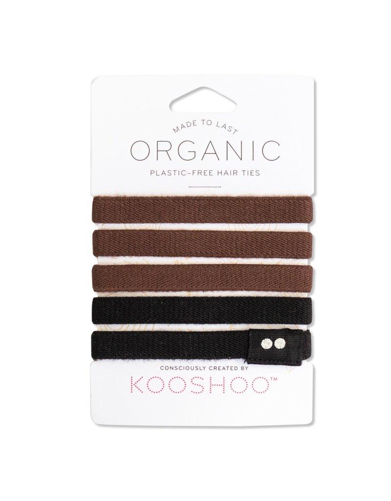 KOOSHOO Plastikfreie Haargummis 5-er Pack /  braun-schwarz