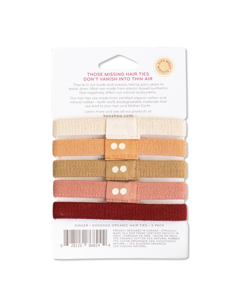KOOSHOO Plastikfreie Haargummis 5-er Pack / ginger