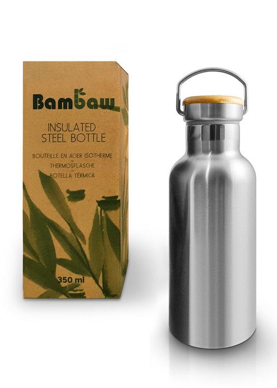 Bambaw Edelstahlflasche mit Bambusdeckel 350 ml