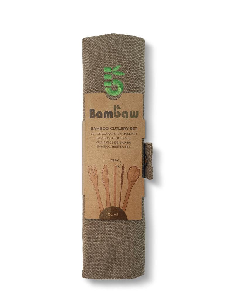 Bambaw Bambus Besteckset  / olive