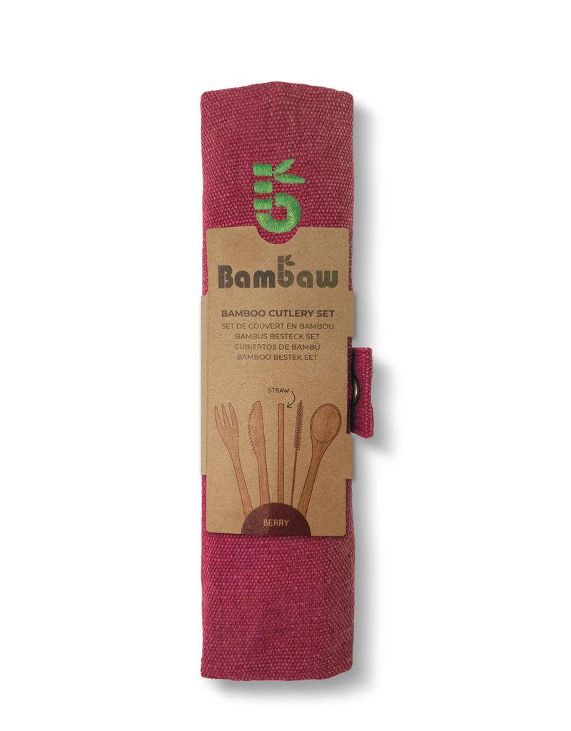 Bambaw Bambus Besteckset  / berry