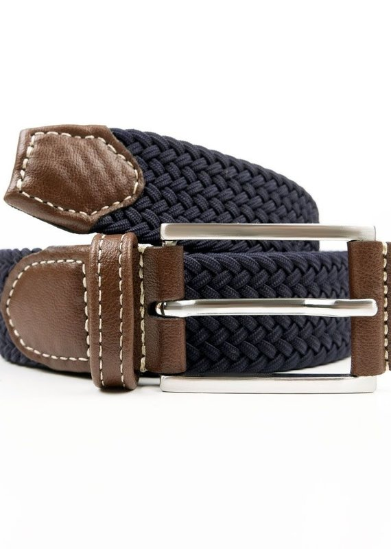 Will's Vegan Shoes Gewebter Herrengürtel 3,5 cm / dunkelblau