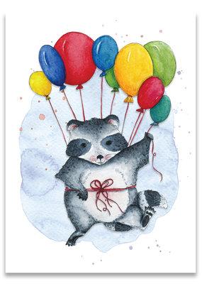 """paper lions studio Postkarte """"Ballonwaschbär"""""""