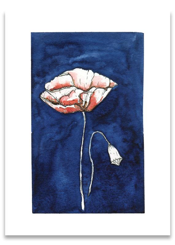 """paper lions studio Postkarte """"Mohn blau"""""""