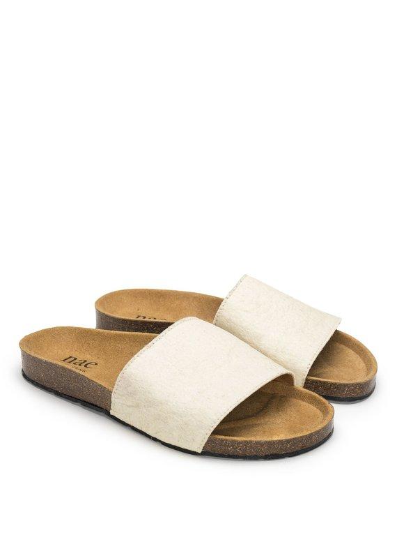 NAE Vegan Shoes Pantoletten Bay White Piñatex