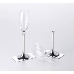 L'Orfèvrerie d'Anjou Ö1 - 2 champagne glasses with 2 pewter stands