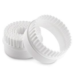 Doppelseitiger Kunststoff teigstecher set, rund, 7-teilig gezahnt / glatt