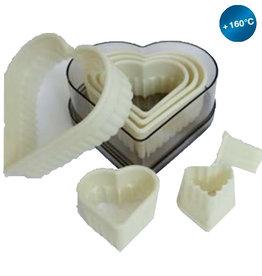 Silikomart Pastry cutters set heart, 7-piece (Serrated)