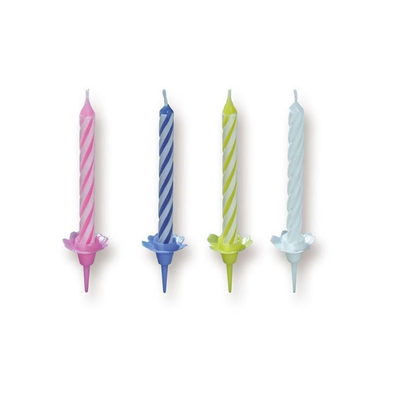 Kerze mit Linien 4 Farben 6,8 cm (324 Stück)