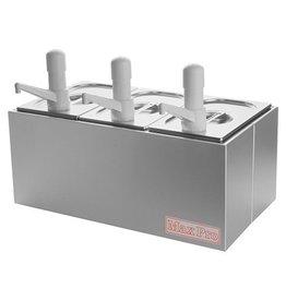 Stainless steel Sauce dispenser set 3 x 1/4 GN