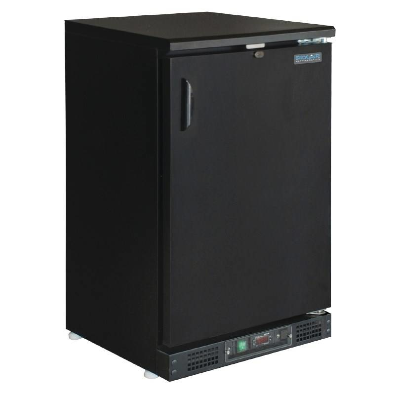 Polar Polar Bar Cooler 140 liters, solid single swing door, black
