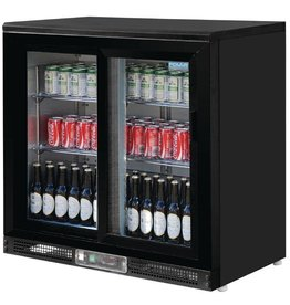 Polar Polar Bar Cooler, 223 liters double sliding doors, black