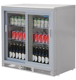 Polar Polar Bar Cooler, 223 liters double sliding doors, Silvergray