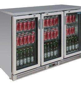 Polar Polar Bar Cooler, 335 liters, three swing doors, Stainless steel