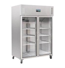 Polar Polar refrigerator 1200 liters, stainless steel with glass doors