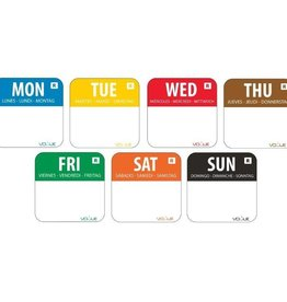 Vogue Weekset Day stickers 2,5 cm removable, 1000 pieces per roll