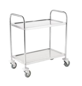 Vogue Stainless steel serving trolley with two trays