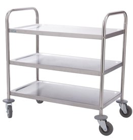 Vogue Stainless steel serving trolley with three trays