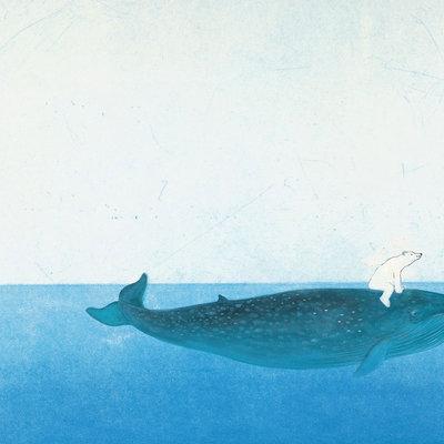 Kek Amsterdam Fotobehang 'Riding the Whale' - Marije Tolman