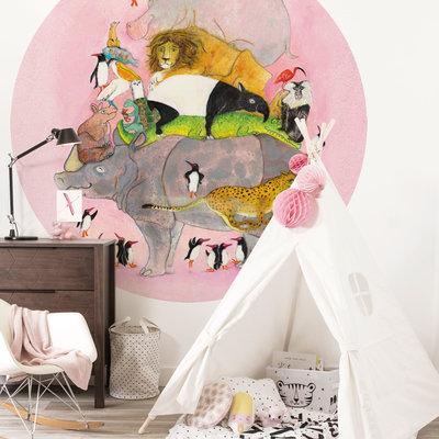 Kek Amsterdam Behangcirkel 'Jumping Pinguins' - Marije Tolman