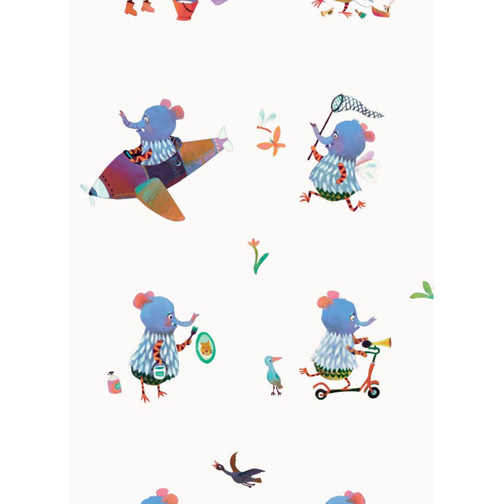 Kek Amsterdam Patroonbehang 'Blue elephants' - Alice Hoogstad