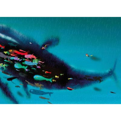 Kek Amsterdam Fotobehang 'Swimming with Whale' - Mark Janssen
