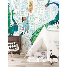 Kek Amsterdam Fotobehang 'Green peacocks', Medium - Alice Hoogstad - 6 banen