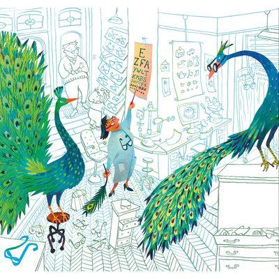 Kek Amsterdam Fotobehang 'Green peacocks', Medium - Alice Hoogstad