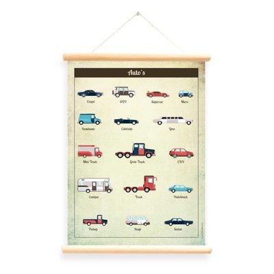 Little & Pure Schoolplaat 'Auto's'