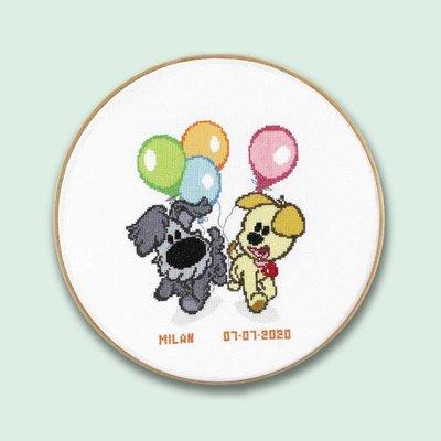 PAKO Woezel en Pip borduurpakket - balonnen - geboorte
