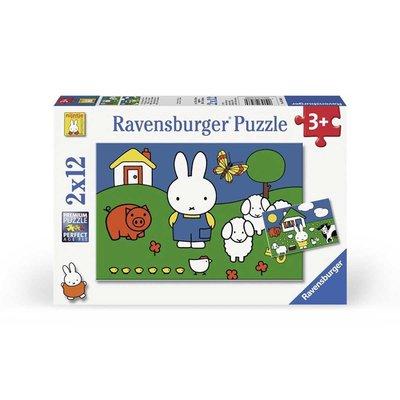 Ravensburger Nijntje puzzel - nijntje bij de dieren - set van 2 puzzels