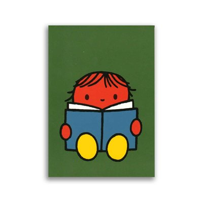 Bekking & Blitz Dick Bruna ansichtkaart  - Daan leest een boek