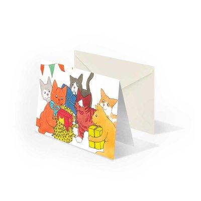 Bekking & Blitz Dikkie Dik 'Feest' gevouwen ansichtkaart