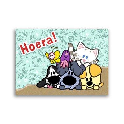 Dromenjager Woezel en Pip ansichtkaart 'Hoera!'