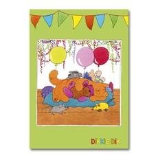 Dikkie Dik Dikkie Dik - A4 verjaardagskaart XL  - 'Ballonnen'