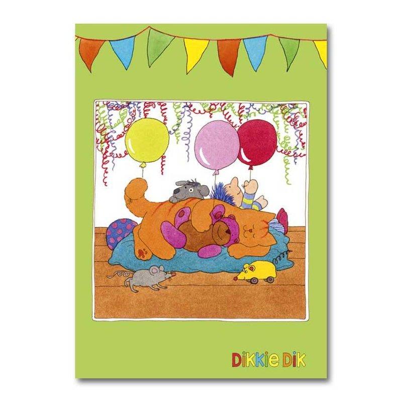 Dikkie Dik Dikkie Dik - A4 verjaardagskaart XXL  - 'Ballonnen'