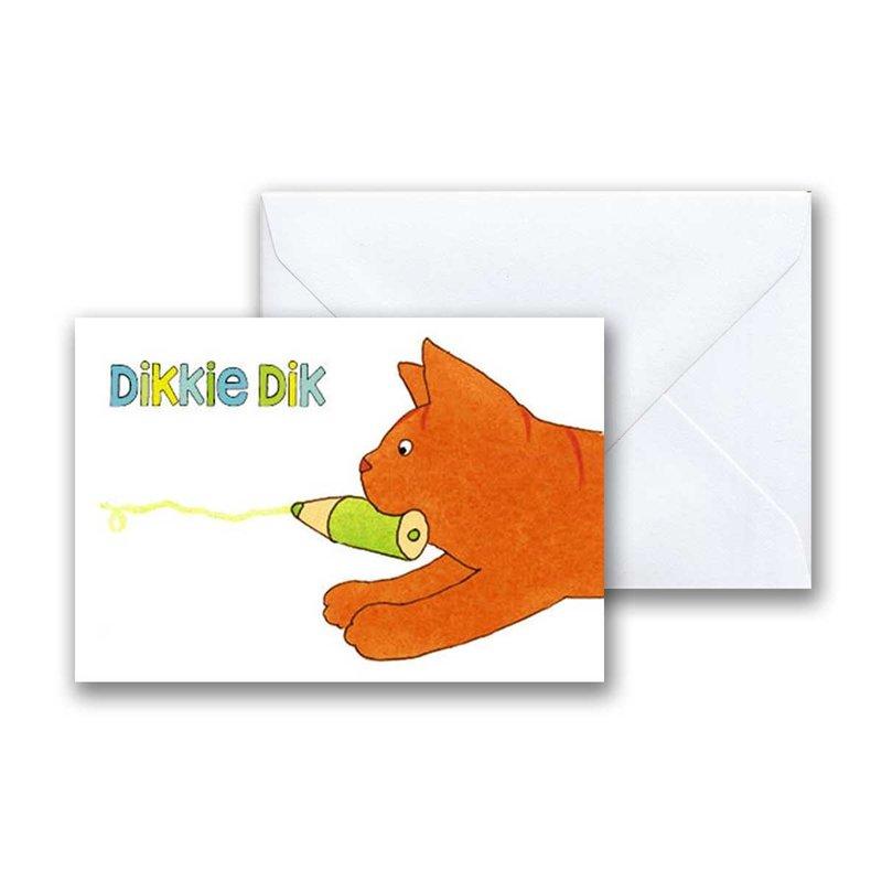 Dikkie Dik Dikkie Dik gaat kleuren mini-ansichtkaart met envelop