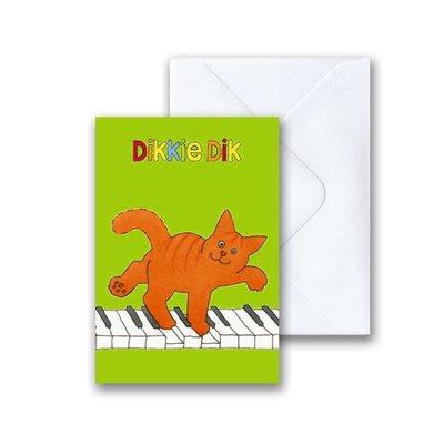 Dikkie Dik Dikkie Dik op de piano mini-ansichtkaart met envelop