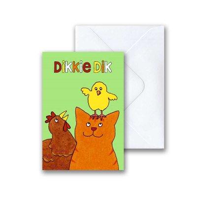 Dikkie Dik Dikkie Dik met vogeltje mini-ansichtkaart met envelop