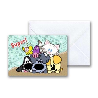 Woezel en Pip Woezel en Pip 'Super' -  mini-ansichtkaart met envelop