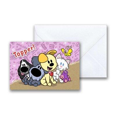 Woezel en Pip Woezel en Pip 'Topper' -  mini-ansichtkaart met envelop