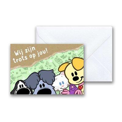 Woezel en Pip Woezel en Pip 'Trots' -  mini-ansichtkaart met envelop