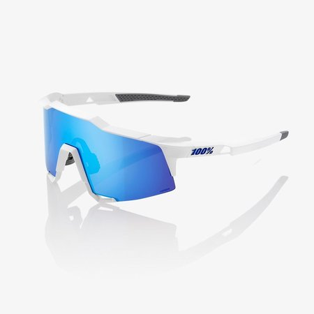 100% 100% Speedcraft - Mat Wit - Hiper Blauwe Lens