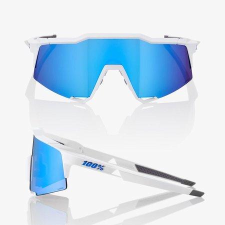 100% 100% Speedcraft - Matte White - Hiper Blue Lens