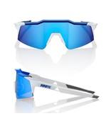 100% 100% Speedcraft SL - Mat Wit/Metallic Blauw - Hiper Blauwe Lens