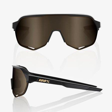 100% 100% S2 - Mat Zwart - Flash Goud Lens