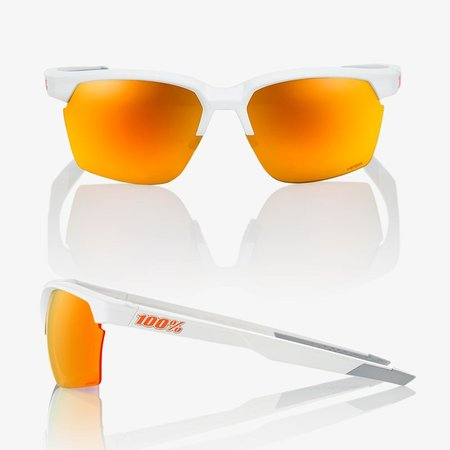 100% 100% SPORTCOUPE® Soft Tact White HiPER® Red Multilayer Mirror Lens + Clear Lens Included