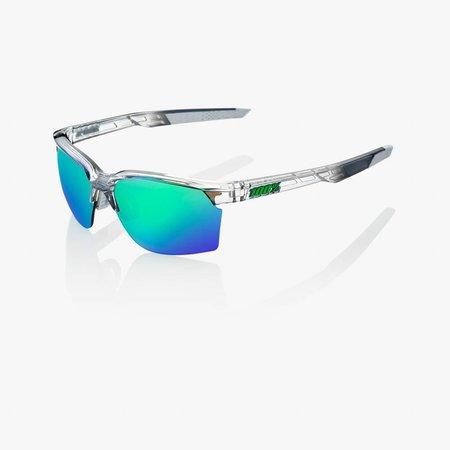 100% 100% Sportcoupe - Polished Crystal Grijs - Groen Mirror Lens
