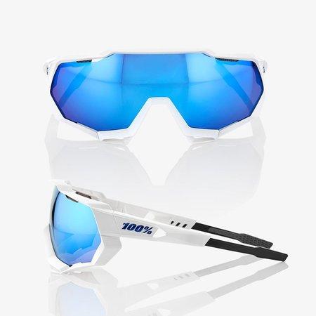 100% 100% Speedtrap - Mat Wit- Hiper Blauwe Lens